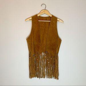 70s suede fringe hippie vest